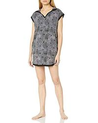 Mae Amazon Brand - Sleepwear Hooded Tunic Sleep Shirt - Gray
