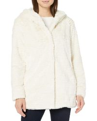 Vince Camuto Hooded Faux Fur Zip Coat - White
