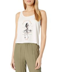 RVCA Womens Move Loose Fit Tank T Shirt - White