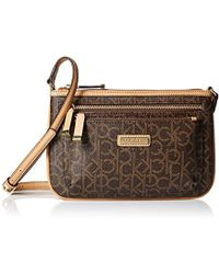 4b1510640dd Calvin Klein - Hudson Top Zip Signature Crossbody - Lyst