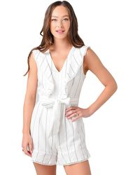 Cupcakes And Cashmere Elena Striped Romper With Ruffle Detail - White