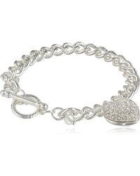 "Napier ""giftable Silver-tone And Crystal Heart Charm Bracelet - Metallic"