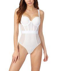 DKNY Sheers Strapless Bodysuit - White