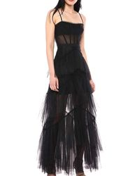 BCBGMAXAZRIA Tulle Corset Essential Gown - Black