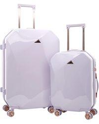 Kensie Only Shiny Diamond Hardside Spinner Luggage Set - Purple
