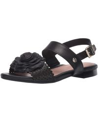 Taryn Rose Ankle Strap Flat Sandal - Black