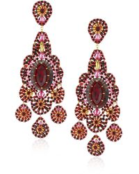 Miguel Ases Mother-of-pearl And Rubellite Bead Embroidered Earrings