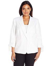 Nine West - Plus Size 1 Button Notch Collar Jacket W/tie Sleeves - Lyst