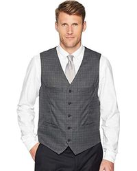 Perry Ellis Slim Fit Washable Plaid Suit Vest - Gray