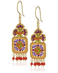 Miguel Ases Small Floral Framed Square Round Wrapped Dangle Multi-drop Earrings - Blue