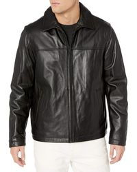 Tommy Hilfiger Smooth Lamb Leather Laydown Collar Open Bottom Jacket - Black