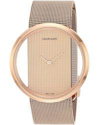 Calvin Klein Stainless Steel Swiss Quartz Watch With Rose Gold Strap - Pink