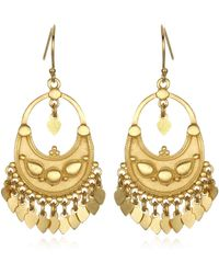 Satya Jewelry Gold Petal Chandelier Earrings - Metallic