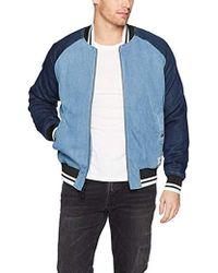 Calvin Klein Denim Baseball Logo Bomber Jacket - Blue