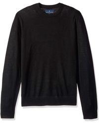 Buttoned Down Italian Merino Wool Lightweight Cashwool Crewneck - Black