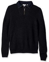 Lacoste Wool Rib Mouline Half Cardigan With Stitch - Blue