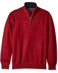 U.S. POLO ASSN. - Solid 1/4 Zip With Front Yoke Texture - Lyst