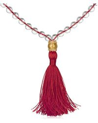Satya Jewelry - Crystal And White Topaz Gold Om Red Tassel Mala Necklace 40-inch, One Size - Lyst