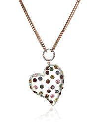 "Betsey Johnson ""confetti Mixed Multi-colored Stone Lucite Heart Long Pendant Necklace - Metallic"