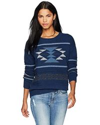 Pendleton Graphic Crew Neck Lambswool Pullover Sweater - Blue