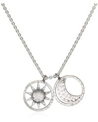 Satya Jewelry Silver Sun And Moon Pendant Necklace 18-inch - Metallic