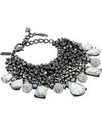 Badgley Mischka Crystal & Pearl Shaky Bracelet - Metallic