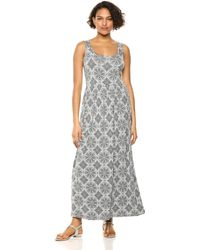 Amazon Essentials Patterned Tank Waisted Maxi Dress Dresses - Grigio