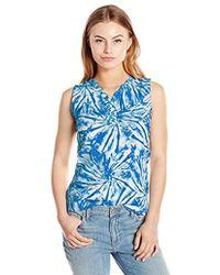 Rafaella - Petite Size Tie Dye Swirls Sleeveless Top With Lace Up Details - Lyst