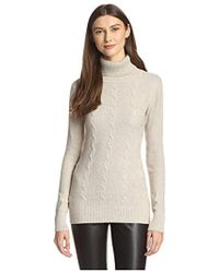 James & Erin - Cable Knit Turtleneck Sweater - Lyst