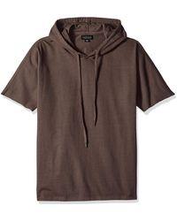 Velvet By Graham & Spencer Velvet's Frost Short Sleeve Hoodie Shirt Cotton Jersey - Brown