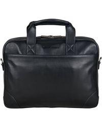 Ben Sherman Top Zip Laptop Portfolio Briefcase - Black