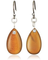Lucky Brand Brown Lace Agate Pave Drop Earrings - Metallic