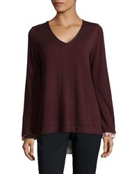 NYDJ Mixed Media V-neck Sweater With Overlapped Back - Purple