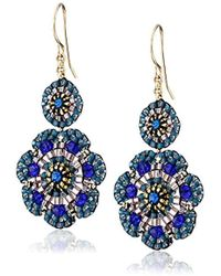 Miguel Ases - Blue Quartz And Swarovski Flower Station Drop Earrings - Lyst
