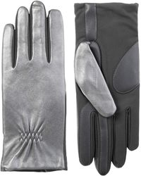 Isotoner Stretch Leather Touchscreen Gloves With Warm Fleece Lining - Metallic