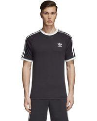 adidas Originals - Mens 3-stripes Tee Black/black Medium - Lyst