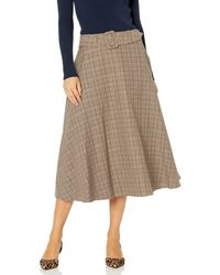 Tommy Hilfiger Plaid Belted Maxi Skirt - Brown