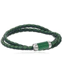 Tateossian - Unisex Unisex Silver Green Alutex Clasp Green Leather Medium 38cm Wrap Bracelet - Lyst