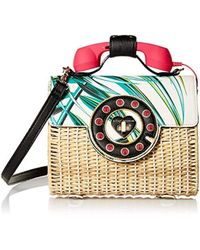 22d4238e41cf Betsey Johnson Mighty Jungle Leopard Print Phone Bag in Black - Lyst