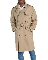 London Fog Double Breasted Stretch Trench Coat - Natural