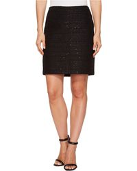 Anne Klein Side Zipper Tweed Midi Skirt - Black