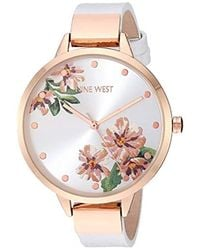 Nine West Rose Gold-tone And Pink Strap Watch - Multicolor