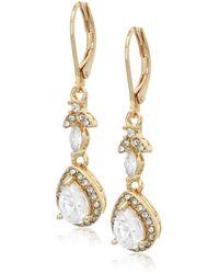 Anne Klein Gold Tone And Crystal Leverback Teardrop Earrings - Metallic
