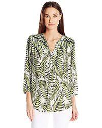 NYDJ 3/4 Sleeve Pintuck Blouse - Green