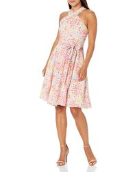 Tahari Petite Sleeveless Criss Cross Halter Neck Dress - Pink