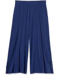 Rafaella Solid Crop Pant With Trim - Blue