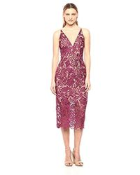 Dress the Population - Aurora Lace Plunging Spaghetti Strap Midi Sheath Dress - Lyst