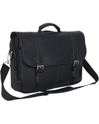 Kenneth Cole Reaction Show Full-grain Colombian Leather Dual Compartment Flapover 15.6-inch Laptop Business Portfolio - Black