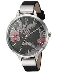 Nine West Silver-tone And Black Strap Watch - Metallic