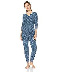 Mae Standard Vintage Thermal Henley Long Sleeve Top With Jogger Pajama Set - Blue
